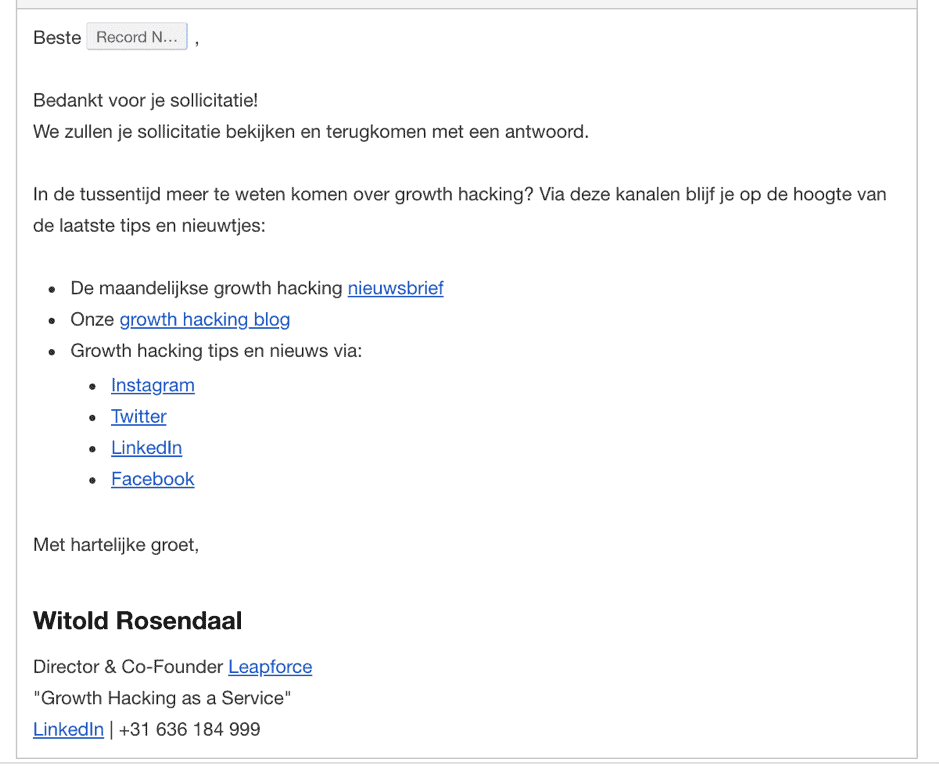 Screenshot van bedank mail via Drift bot
